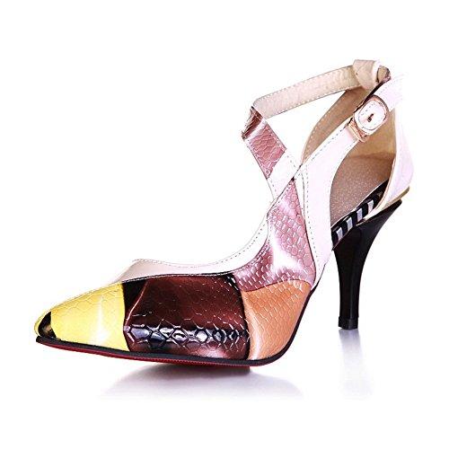 Adee Ladies cross-body-strap pointed-toe Poliuretano bombas zapatos Amarillo - amarillo