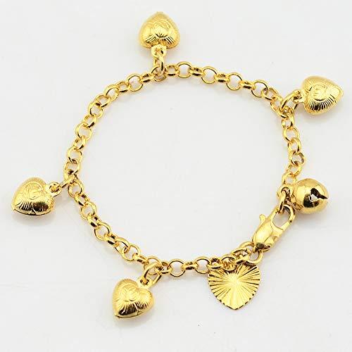 (FOKLC Bracelet 1pcs 3mm Baby Kids Girls Gold Color Cute Heart Bracelets Rolo Chain Bangles Babies Jewelry)