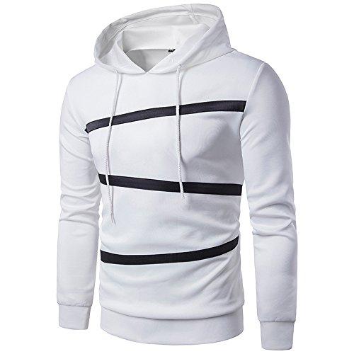 Realdo Men's Solid Striped Sweatshirt Tops, Casual Long Sleeve Elastic Hoodie Outwear Coat(White,X-Large) (Wing Bib Pique)