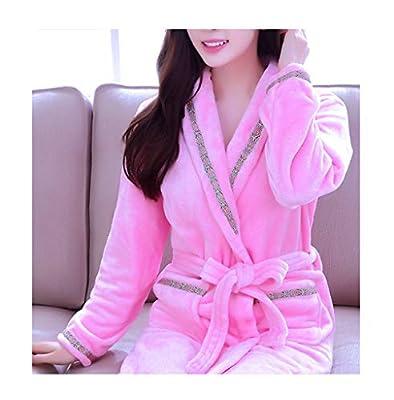 femaroly Women Classic Sexy Soft Bath Robe Warm Fleece Bathrobe Nightgown Sleepwear