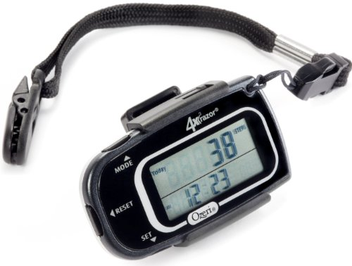 Ozeri 4x3razor Pocket 3D Pedometer and Activity Tracker with Bosch Tri-Axis Technology from Germany, Black (Compact Pedometer)