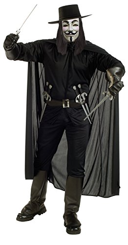 UHC Men's Movie Characters V For Vendetta Warrior Fancy Costume, XL (up to 46) (V For Vendetta Mask Deluxe)