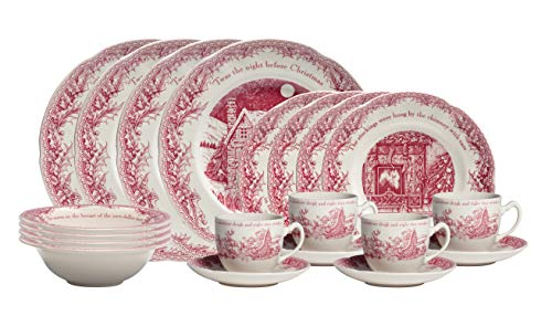 Johnson Brothers 40034956 TWAS The Night Dinnerplace Setting, 20 Piece, Pink/Ivory