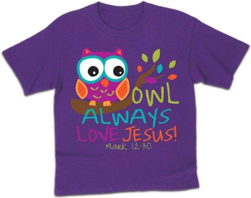 Owl, Kidz Tee, LG, Purple - Christian Fashion Gifts