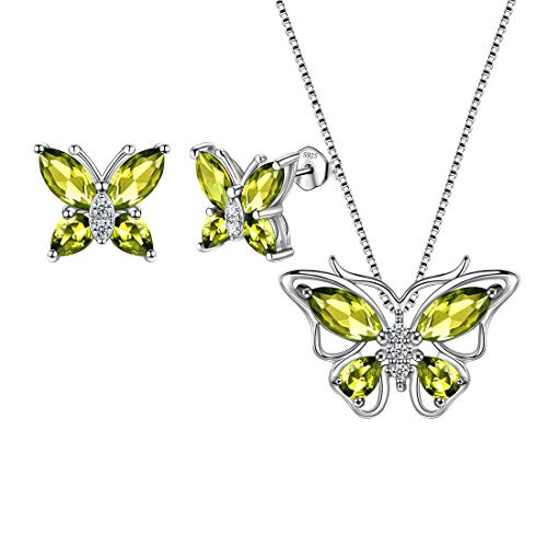 Green Butterfly Jewelry Sets Women 925 Sterling Silver August-Peridot Birthstone Necklace/Earrings Butterflies Sets Girls Birth Stone Animal Jewellery Birthday Gift DS0045A
