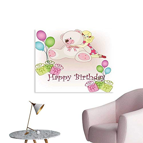 J Chief Sky Kids Birthday Poster Print Baby Girl Birthday with Teddy Bears Toys Balloons Surprise Boxes Dolls Image Wall Decals for Kids W28 xL20 from J Chief Sky