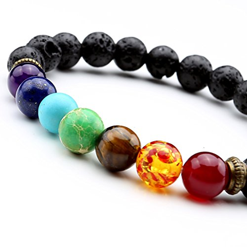 JOVIVI 7 Chakra Lava Stone Diffuser Bracelet Crystal Reiki Healing Balancing 8mm Natural Gemstone Round Beads