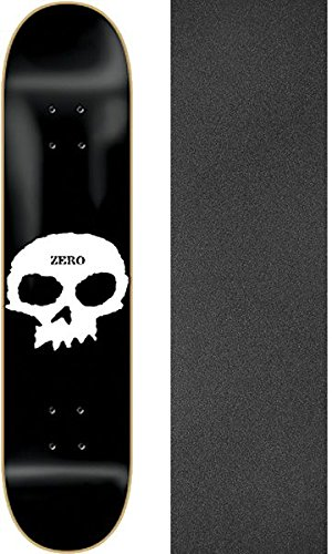 "Zero Skateboards Single Skull Black/White Skateboard Deck - 7.75"" x 31.3"" with Jessup Griptape - Bundle of 2 Items"