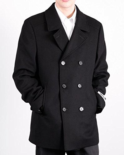 DKNY Donna Karan New York Men`s Black Double Breasted Wool Blend Designer Peacoat-4IT0000