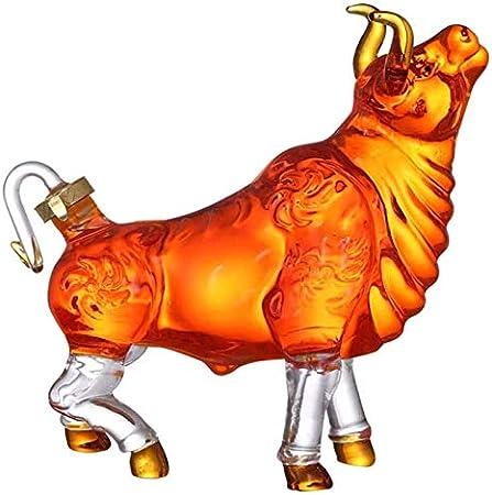 NIANXINN Decantador de Vino de 1000 ml, decantador de Whisky de Forma de Vaca, Botella de Vidrio de borosilicato 100% Libre de Plomo para Bourbon, escocés, Regalo de Vino Decantador de Whisky