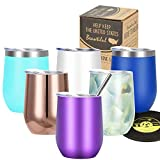 Wine Tumbler Vacuum Insulated Stemless - Markline 12 oz Triple-Insulated Stainless Steel Wine Glasses with Lid and Straw, Keep Cold or Hot for Wine, Coffee, Cocktails and Drinks, Purple