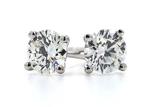 Precious Jewels Royaume-Uni-Boucles d'Oreilles à tige Solitaire diamant 0,5carat or blanc 18carats. certificat par Gie