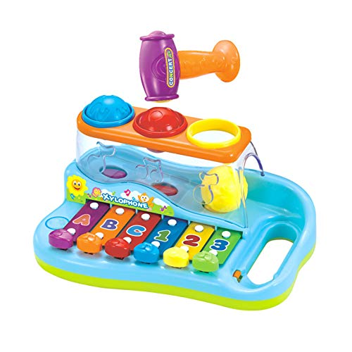 (Zoostliss Baby Pound & Tap Bench Xylophone Musical Toy with Color Sorting Balls and Hammer Pounding Toy for Toddlers)