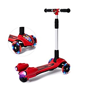 MammyGol Kick Scooters for Kids,Adjustable Handle Folding LED Spray Jet Scooter, 3 wheeled, 110lb Weight Limit, age 3- 8 (Red)