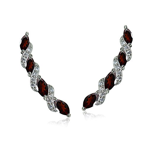 Sterling Silver Garnet & White Topaz Twist Crawler Climber Hook Earrings