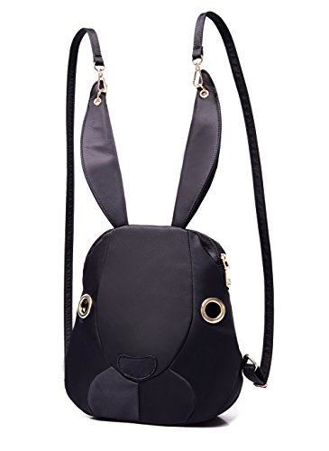 (Mojing Cute Bunny Backpack Purse for Girls,Cartoon Rabbit Schoolbag Daypack(black))