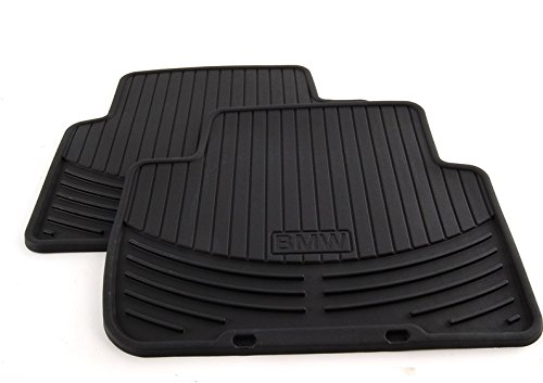 BMW All Weather Rear Rubber Floor Mats 323 325 328 330 Sedan & Wagon (1999-2005), Coupe (2000-2006) - Black