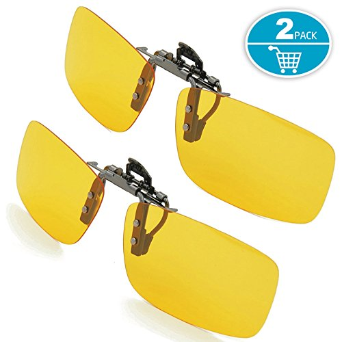 Clip-on Sunglasses, Splaks Unisex Polarized Frameless Rectangle Lens Flip Up Clip on Prescription Sunglasses Eyeglass, 2-Piece clip on glasses + Night Vision Glasses - Yellow