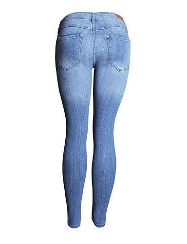 Light Femme pour Slim Unie Jeans Taille Blue Pantalon YFLTZ Couleur Haute PzfwAA