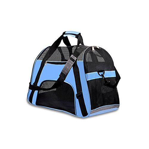 PPOGOO Pet Travel Carriers Soft Sided Portable Bags for Dogs and Cats Airline Approved Dog Carrier 17.3