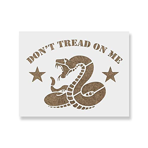 Don't Tread on Me Stencil Template - Reusable Gadsden Flag Stencil with Multiple Sizes Available - Better Than Decals & Stickers (Common Tread)