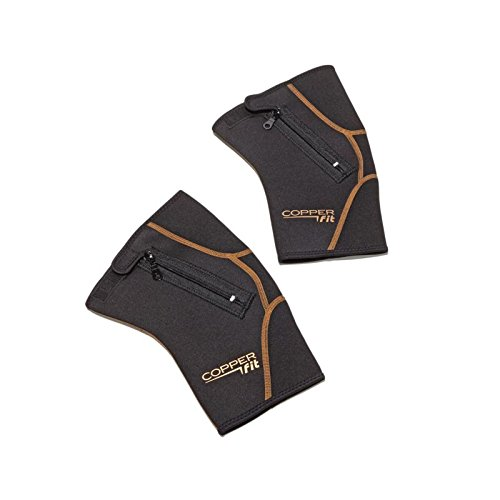 Copper Fit 2-Pack Zip Knee Sleeve - Black (X-Large 19' to 21')