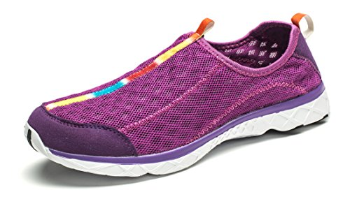 Smapavic Men's and Women's Unisex Mesh Quick Drying Slip On Lightweight Auqa Water Shoes, US 7 Women/US 6 Men, Purple (EU Size: 38)
