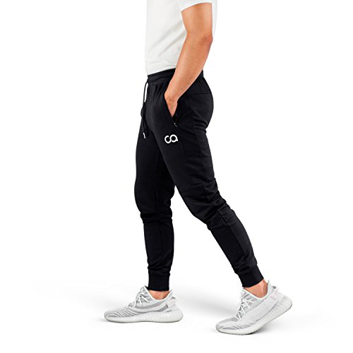 Blend Cotton Sweatpants (Contour Athletics Men's Joggers (Cruise) Sweatpants Men's Active Sports Running Workout Pants with Zipper Pockets (Black) (Small) (CA1003-SB))