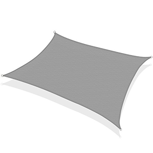 KHOMO GEAR Rectangular Sun Shade Sail 12 x 16 Ft UV Block Fabric - Grey (Detached Decks Backyard)