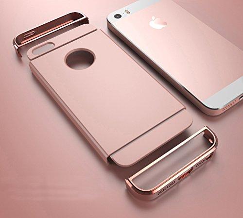 MOONCASE iPhone SE Hülle - Ultraslim 3 in1 Textur Plating Bumper Kratzfeste Metall Kunststoff Harte Rückseite Case Cover für iPhone SE / 5S/ 5 Rot
