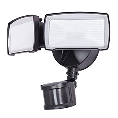 Utilitech Pro 180-Degree 2-Head Bronze LED Motion-Activated Flood Light with Timer