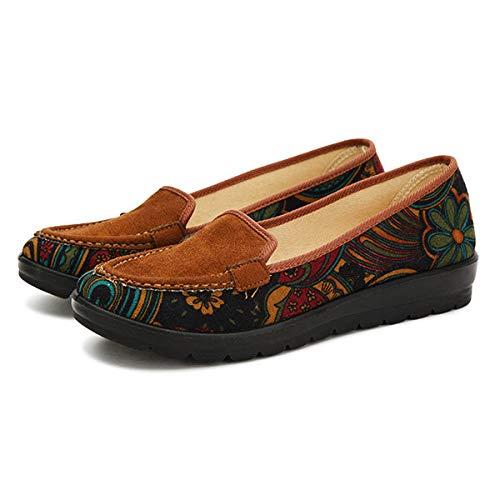 Chaussures marron brun Zhrui plates revers taille couleur Mocassins confortables Eu à imprimé 42 floral avec Bwwv56qx
