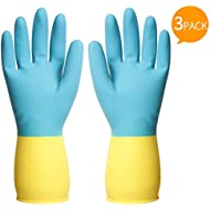 ThxToms Reusable Dishwashing Latex Gloves, Blue Yellow Cleaning Gloves for Kitchen and Housework, Medium, 3 Pairs
