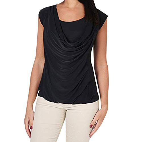 general3 Women Cowl Neck Tops Summer Tie Backless Shirt Layered Pleated Loose Tunic Blouse(Black,X-Large) ()