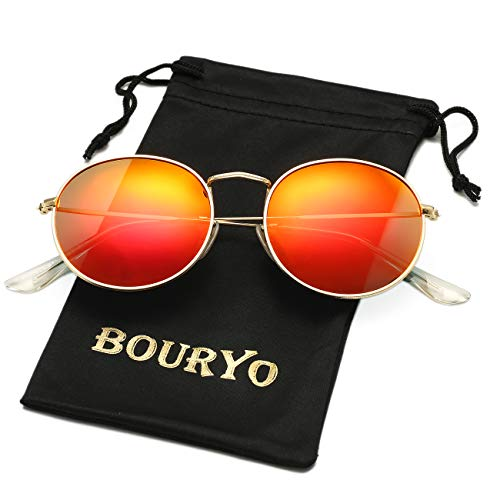 BOURYO Classic Small Round Polarized Sunglasses for Men Women Metal Frame Mirrored Lens Sun Glasses 3447(Gold/Red ()