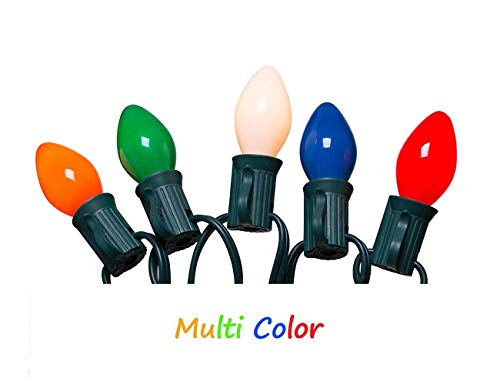 SkrLights Christmas Lights(25FT) 5 Multi-Color Outdoor&Indoor Light for Holiday Party Wedding etc,25 Ceramic C7 Light(Plus 2 Extra Bulbs)