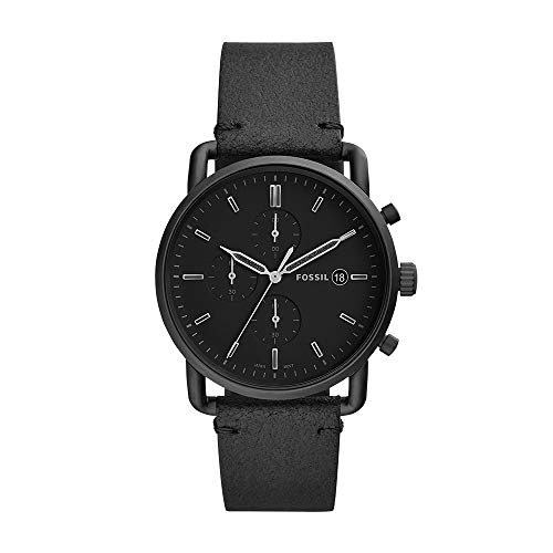 Fossil Men's Stainless Steel Quartz Leather Strap, Black, 22 Casual Watch (Model: FS5504)