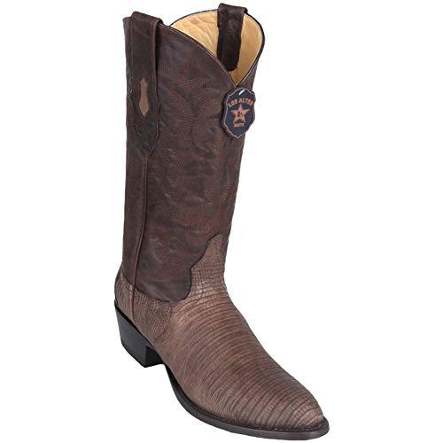 Los Altos boots Mens Tegu Lizard Round Toe Western Cowboy Boot Greasy Brown 9.5 D