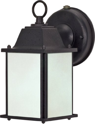 Nuvo Lighting 60/2529 One Light Cube Lantern with Frosted Glass and Photocell, Textured - Locations T2