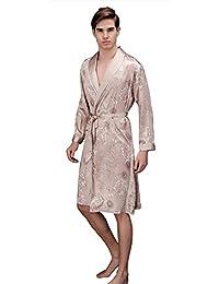 J.cotton Men's Shawl Collar Kimono Satin Robe bathrobe/sleepwear/ Pajama