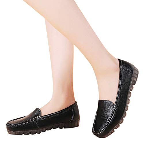 Women Soft Leather Loafers Moccasins 2019 New Comfort Flat Oxfords Breathable Shoes Driving Walking Shoes (US:5.5, -