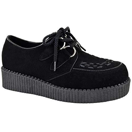 Fashion Thirsty Womens Creeper Goth Punk Platform Lace Up Shoes Flat Size -