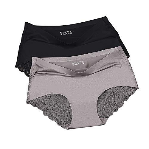 Satin Spandex Briefs - Ensence Women's 2 Pack Lace Sexy Panties Women Underwear Lingerie Brief Satin Silk Panty (Coffee-Black, X-Small)