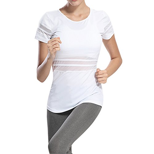 Tulucky Womens Mesh Patchwork Yoga Tank Tops Fast Dry Running Gym Sports T-Shirt