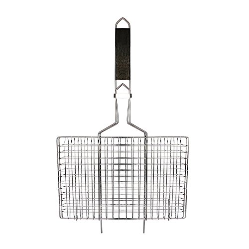 AccMart Nonstick Fish Grilling Basket Folding for Roast BBQ Barbecue with Wood Handle (Folding Roast Rack compare prices)