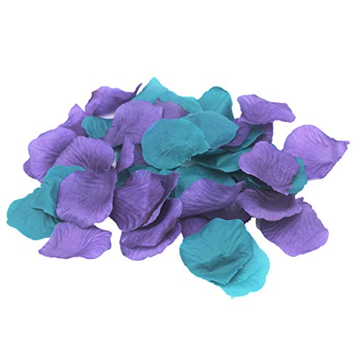 (ALLHEARTDESIRES 1000PCS Purple Teal Mixed Mermaid Party Supply Silk Rose Flower Petals Wedding Confetti Girl Baby Shower Birthday Bridal Shower Party Aisle Decoration)