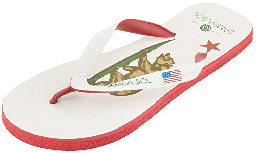 Samba Sol Mens Flag Collection Flip Flops - Fashionable and Comfortable. Trendy and Classic Sandals For Mens. California Republic J6nh4x