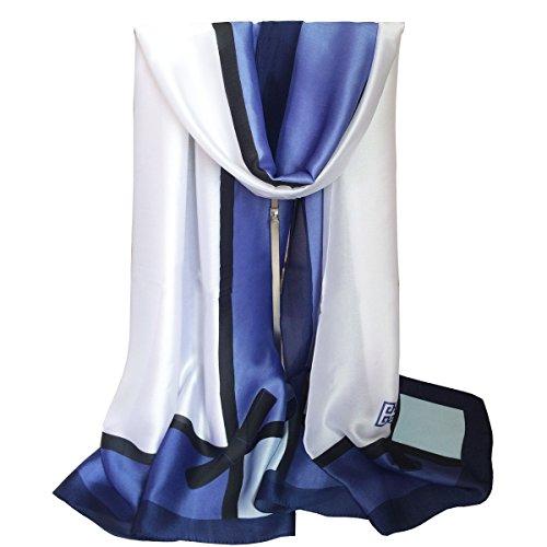 Blue Silk Long Scarf (K-Elewon Silk Scarf Women Fashion Scarves Long Lightweight Sunscreen Shawls SK077-D)