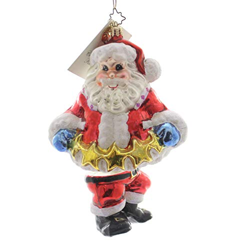Christopher Radko STAR GARLAND SANTA Glass Ornament Santa Stars Christmas