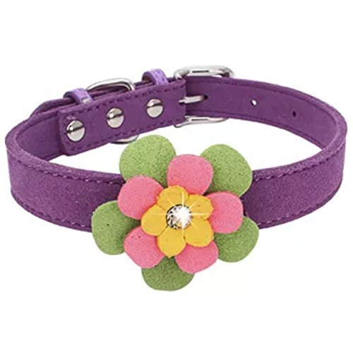 Stock Show Cute BlingBling Diamond Flower Pattern Pet Collar Soft Velvet Adjustable Puppy Kitten Collar Fashion Floral Necklace for Small Dogs Cats, Fits for 8-11, Purple (Pattern Personalized Heart Heart)